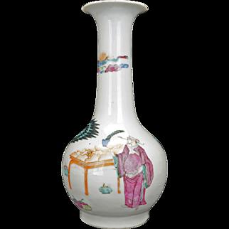 Chinese porcelain over glaze enamel bottle vase of ladies and a mandarin 19th century
