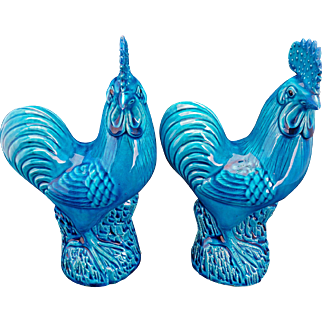 Antique matched pair of porcelain roosters with turquoise glaze circa 1900