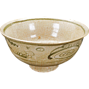 Chinese Song or Yuan ceramic bowl with crackle celadon like glaze and cobalt design 13th or 14th century