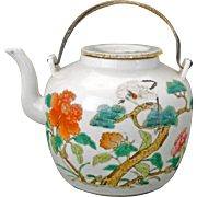 Chinese famille rose porcelain teapot with over glaze enamels Tongzhi mark and period 19th century
