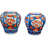 Pair of matching small Japanese porcelain Imari jars 19th century