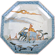 Japanese porcelain Imari dish with octagonal sides and horse design late 19th /early 20th century