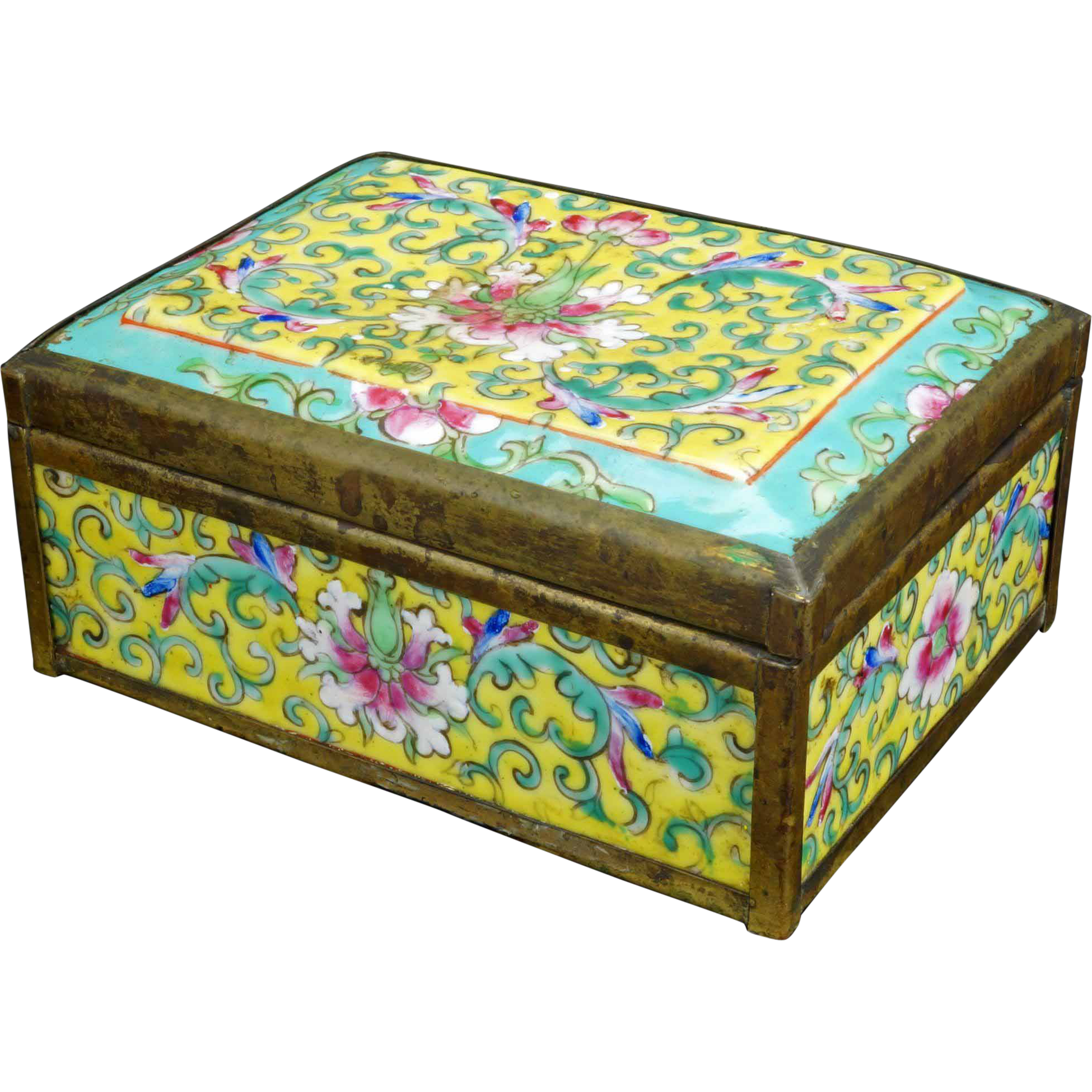 Antique Chinese porcelain Famille rose box with brass work circa 1900