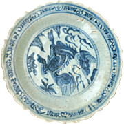Chinese Swatow porcelain Ming blue and white plate with barbed rim and Chilin design 14th to 16th century