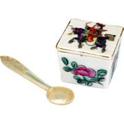 Chinese export over glaze enamel porcelain lidded salt with mother of pearl spoon circa 1900