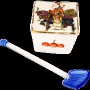 Chinese export over glaze enamel porcelain lidded salt with glass spoon circa 1900