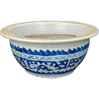 Chinese blue and white porcelain censer bowl with stylized design 19th century