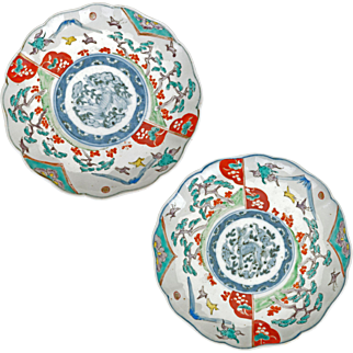 Matched pair of colored Japanese porcelain foliate rimmed Imari plates 19th century