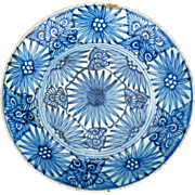 Chinese blue and white porcelain plate with a spiked floral design 19th century