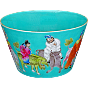 Chinese over glaze enamel immortals design porcelain bowl with Jiaqing reign mark circa 1900
