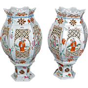 Matched pair of Chinese Qing porcelain wedding lamps late 19th early 20th century