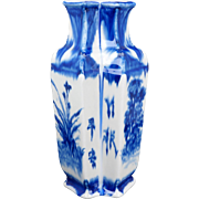 Chinese twin porcelain vase with flow blue cobalt underglaze flower designs early 20th century