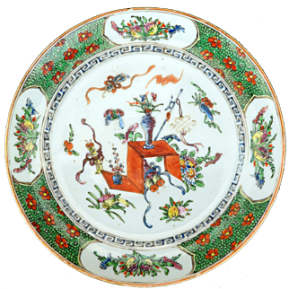Chinese Porcelain Plate with Daoist Symbols circa 1900