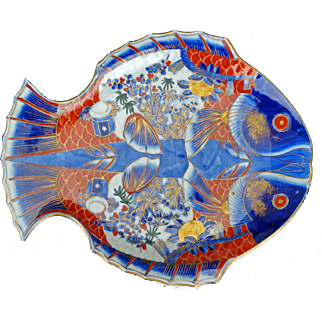 Large Vintage Japanese Hand Painted Fish Imari Style Porcelain Charger