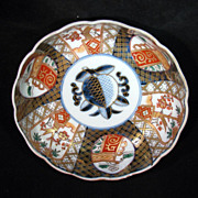 "Meiji Period Japanese Imari fluted 6"" bowl with blue peach in center c. 1900"