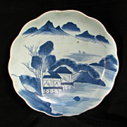 Large Japanese Arita Blue and White Charger with Landscape 19th Century