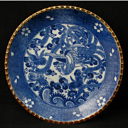 Meiji Japanese Transferware Igezara Blue and White Porcelain Plate with Phoenix Design