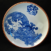 Large Meiji Japanese Transferware Igezara Blue and White Porcelain Charger with Phoenix