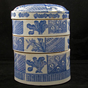 Three-tiered Igezara Japanese porcelain food container Bento ca 1900