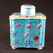Chinese export porcelain tea caddy Republic Period ca 1900