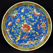 Chinese porcelain floral export dish in deep blue overglaze enamel - Republic Period