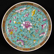 Chinese porcelain floral export dish in turquoise overglaze enamel - Republic Period