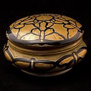 Art Nouveau German Hand Painted Porcelain Vanity Powder Jar Circa 1910