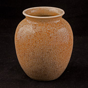 Small late Qing Chinese porcelain vase with a crackled silkworm glaze