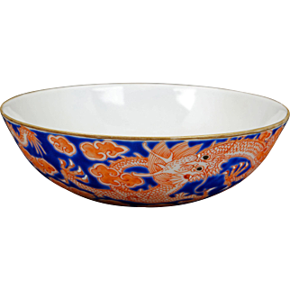 Chinese thinly potted over glaze blue and red shallow bowl with Jiaqing reign mark
