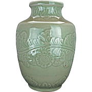 "Chinese 12"" incised celadon porcelain vase circa 1900"