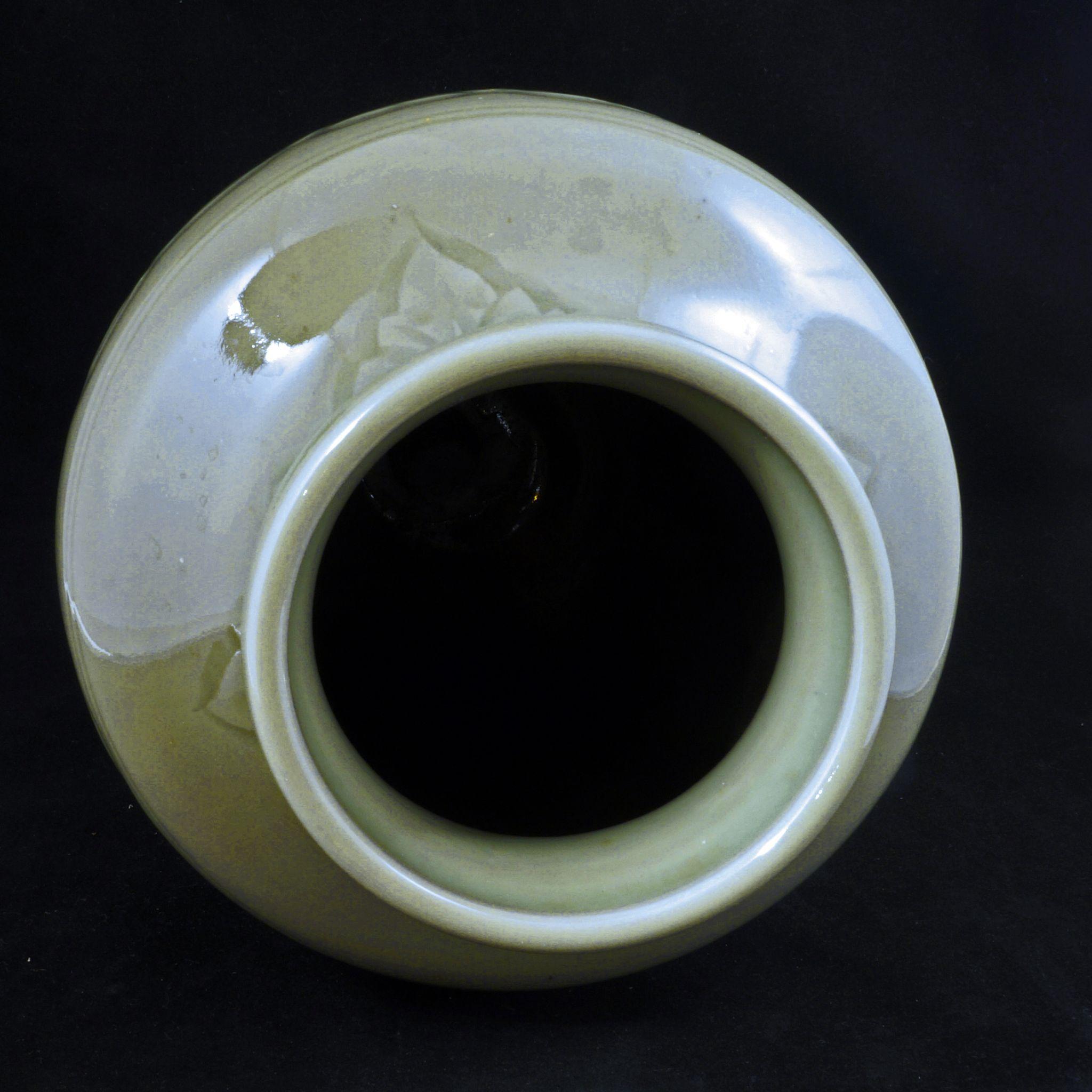Incised Celadon Porcelain Vase Circa 1900 From Bearraven