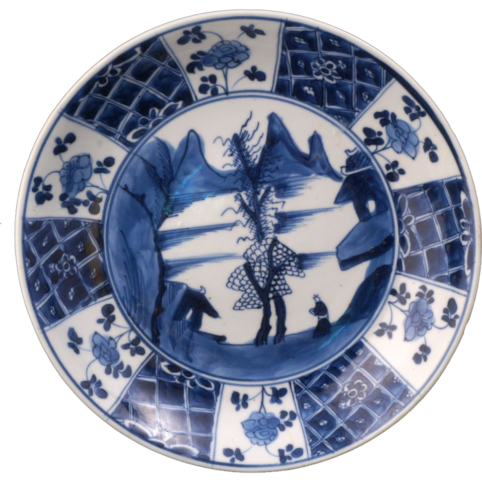 Blue And White Chinese Export Porcelain Plate Of Mountains