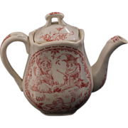 C. Allerton & Sons Staffordshire English child's Punch and Judy transferware paste teapot circa 1880
