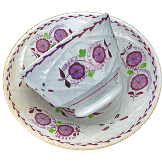 Pink handleless molded Lusterware Tea Cup & Saucer mid-19th C