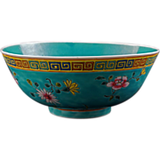 Large turquoise Chinese porcelain bowl with over glaze enamels circa 1900