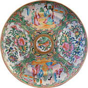 Chinese porcelain rose medallion over glaze enamel plate 19th century