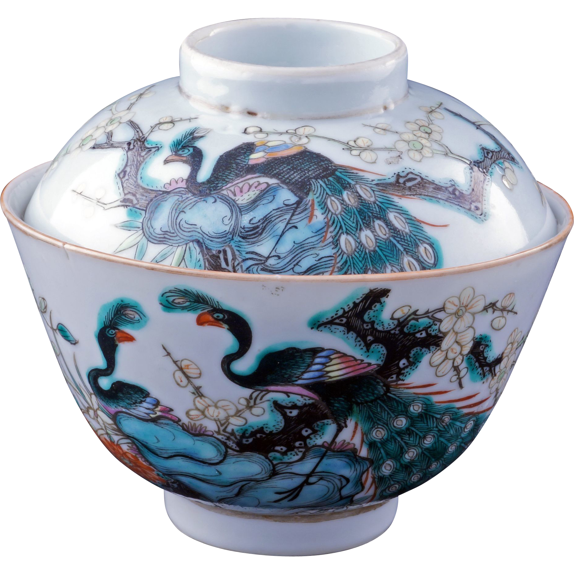 Chinese Porcelain Tea Bowl And Matching Lid With Peacocks
