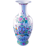 "Finely painted Chinese famille verte porcelain 9"" vase with scholar designs circa 1900"