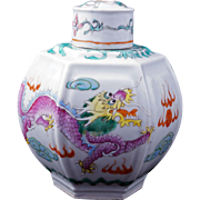 Circa 1900 Chinese porcelain six sided over glaze enamel tea caddy with two dragons