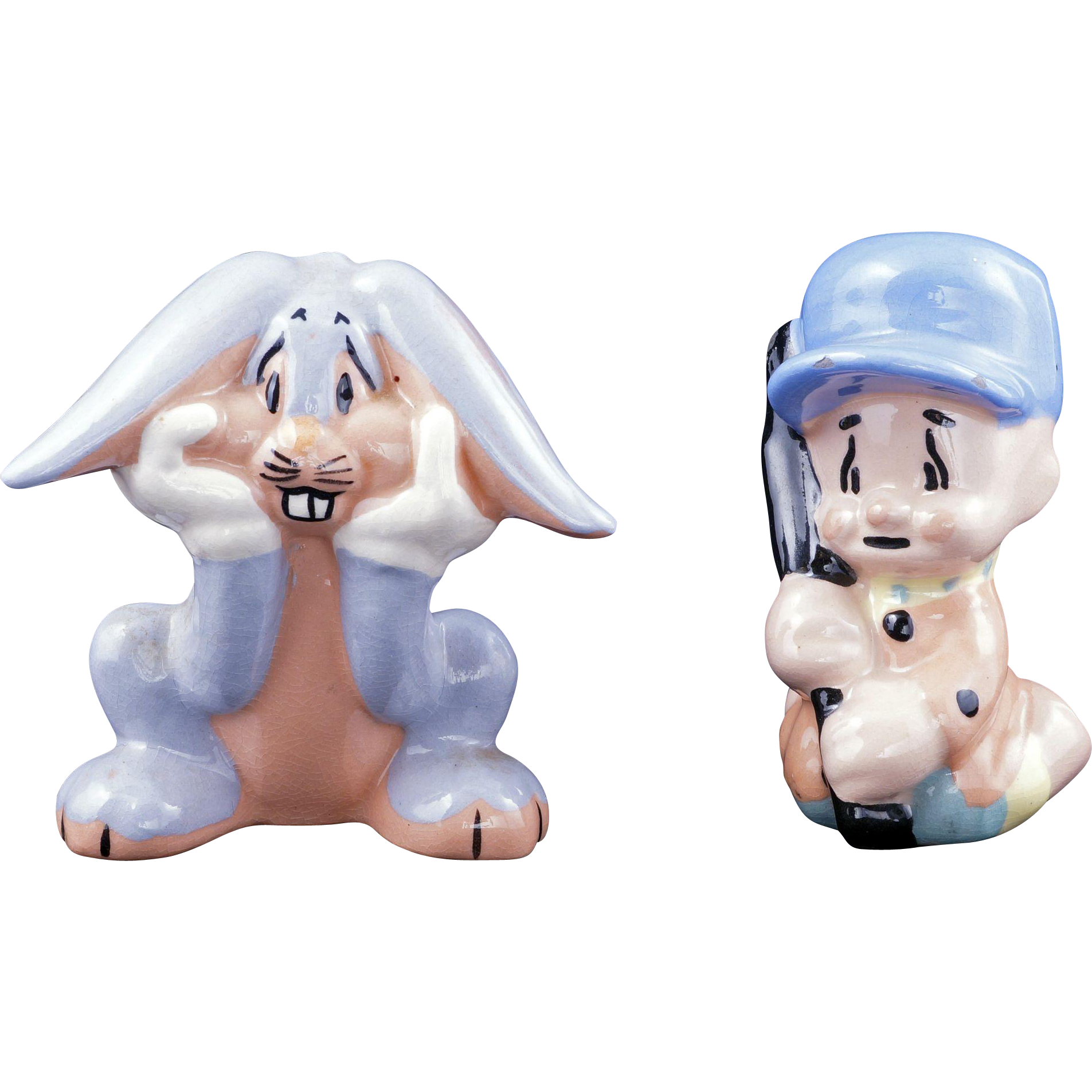 ceramic elmer fudd and bugs bunny figurines by evan k shaw warner from bearraven on ruby lane. Black Bedroom Furniture Sets. Home Design Ideas