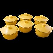 Set of 6 Mid-century Vernonware acacia yellow ceramic individual covered casseroles Casual California pattern c 1953