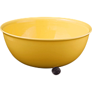 "Mid-century Vernonware large 10 ¼"" diameter acacia yellow ceramic mixing bowl Casual California pattern c 1953"