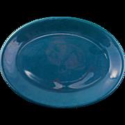 Mid-century Vernonware pine green Ceramic platter Casual California pattern c 1953