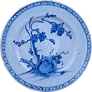 Dutch Delft tin glaze plate blue and white Kangxi style 18th century