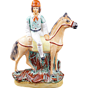 English Staffordshire figure of a rider with horse late 19th century