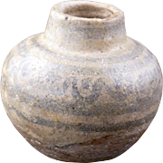 Tiny Ancient Thai Sawankhalok ware medicine or cosmetics ceramic pot 15th or 16th century