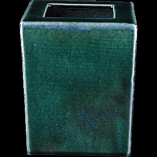 Chinese ceramic green glazed rectangular pillow vase circa 1900