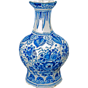 Dutch delft blue and white vase c 1680