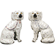 Pair of English Staffordshire ceramic spaniels late 19th century