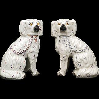 Pair of English Staffordshire ceramic spaniels late 19th century